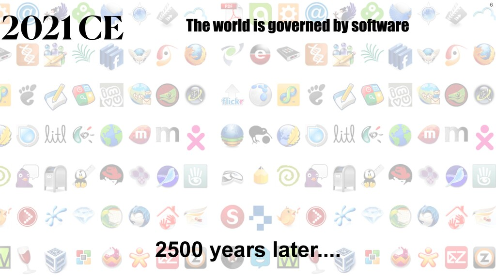 6 2500 years later.... 2021 CE The world is gov...