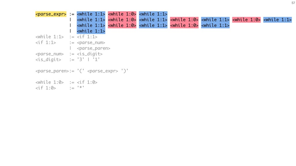 <parse_expr> := <while 1:1> <while 1:0> <while ...