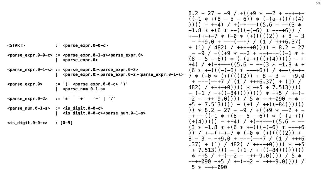 59 8.2 - 27 - -9 / +((+9 * --2 + --+-+- ((-1 * ...