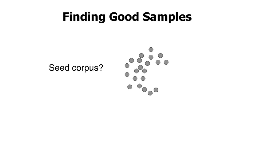 Finding Good Samples Seed corpus?
