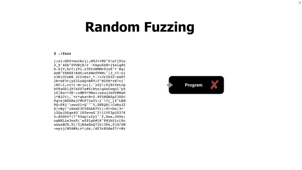 11 Random Fuzzing $ ./fuzz [;x1-GPZ+wcckc];,N9J...