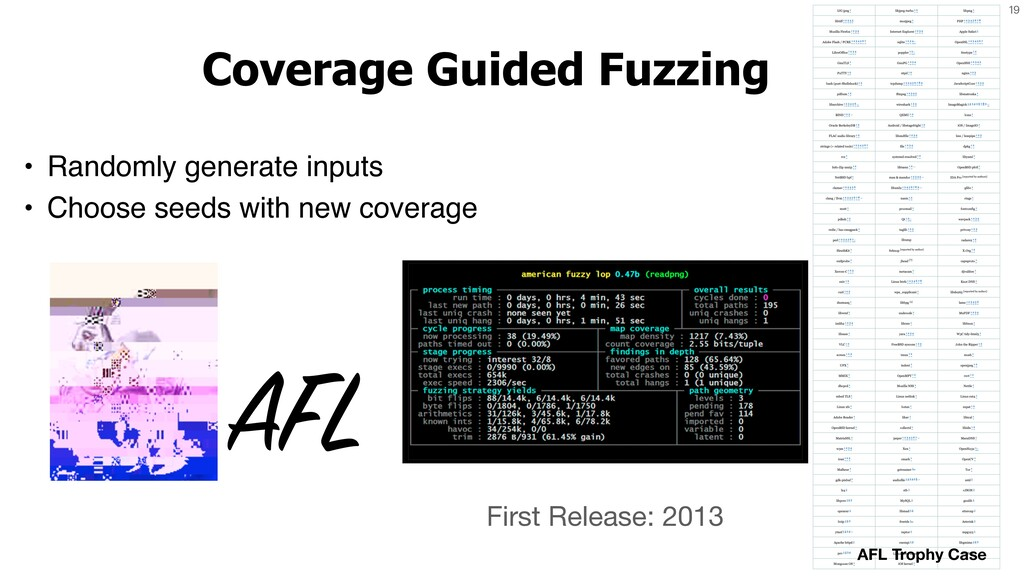 19 Coverage Guided Fuzzing • Randomly generate ...