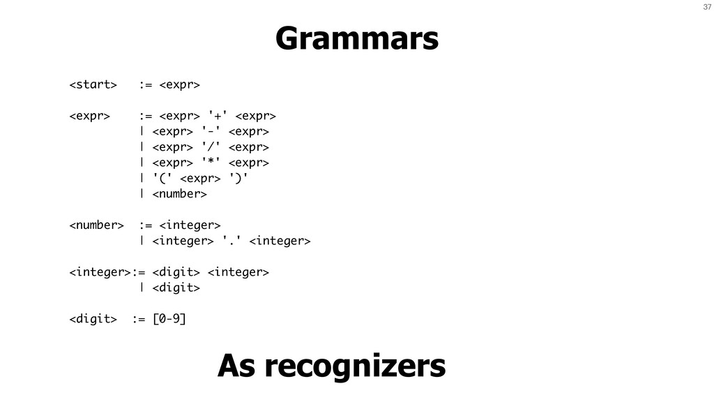 37 Grammars As recognizers <start> := <expr> <e...