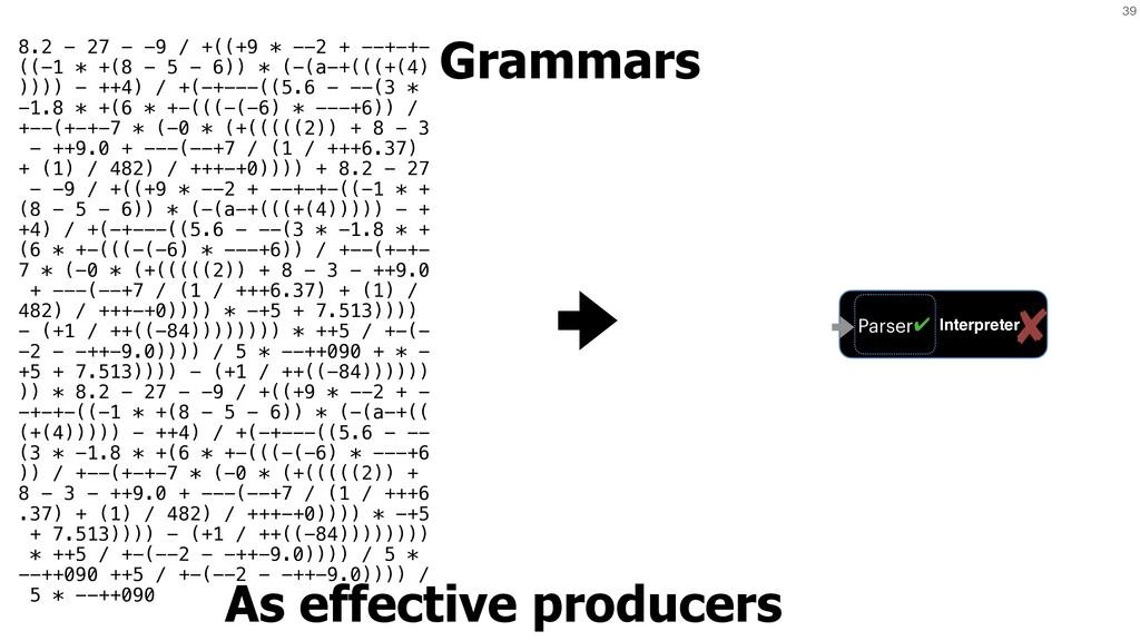 39 Grammars As effective producers Interpreter ...