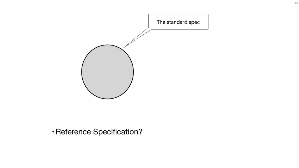 41 The standard spec •Reference Specification?
