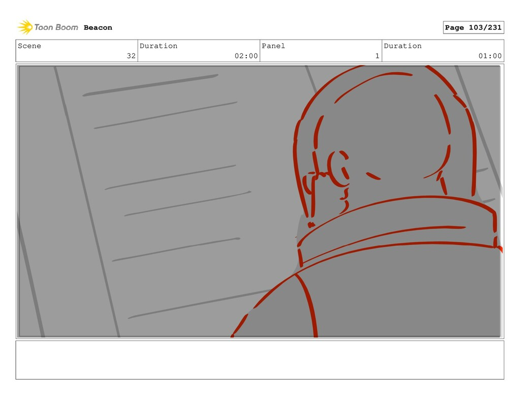 Scene 32 Duration 02:00 Panel 1 Duration 01:00 ...
