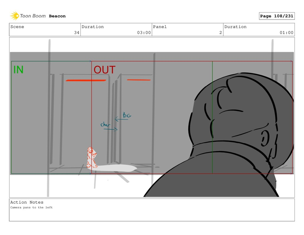 Scene 34 Duration 03:00 Panel 2 Duration 01:00 ...