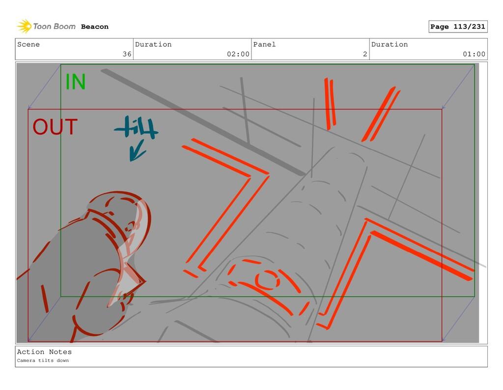 Scene 36 Duration 02:00 Panel 2 Duration 01:00 ...