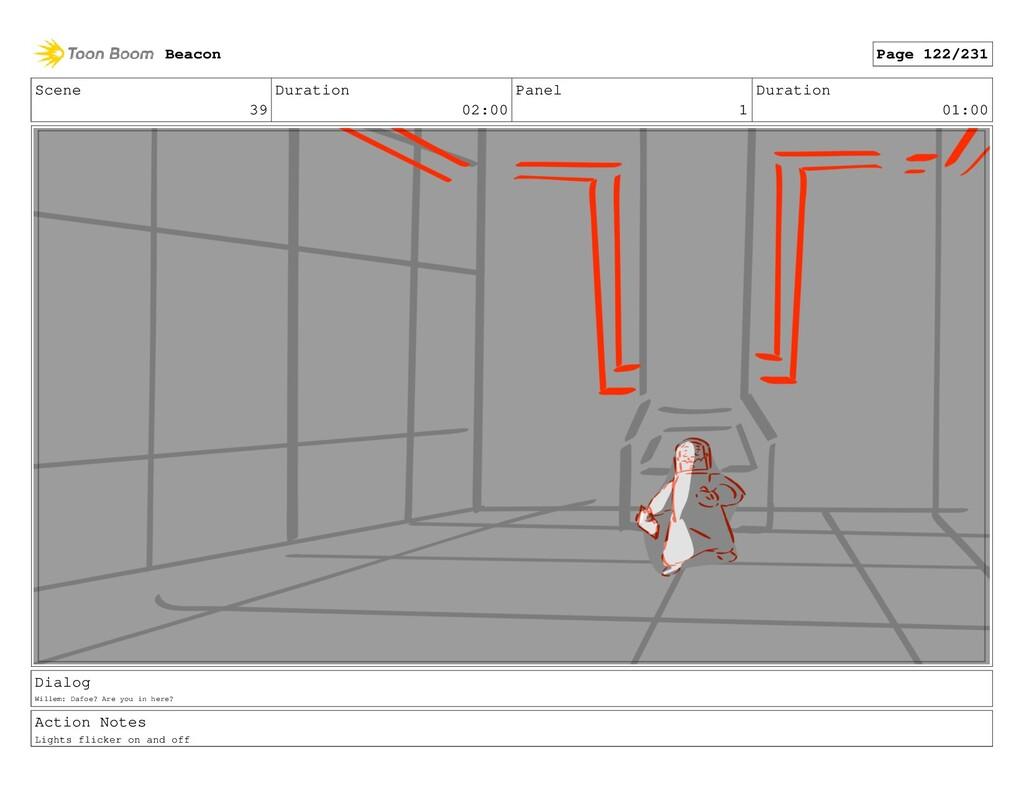 Scene 39 Duration 02:00 Panel 1 Duration 01:00 ...