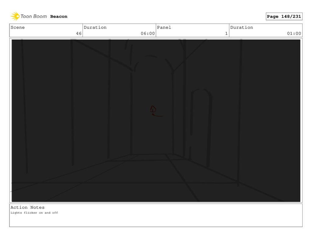 Scene 46 Duration 06:00 Panel 1 Duration 01:00 ...