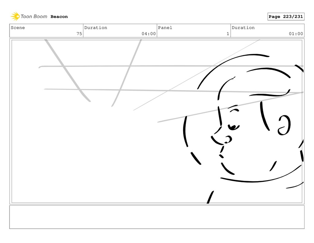 Scene 75 Duration 04:00 Panel 1 Duration 01:00 ...