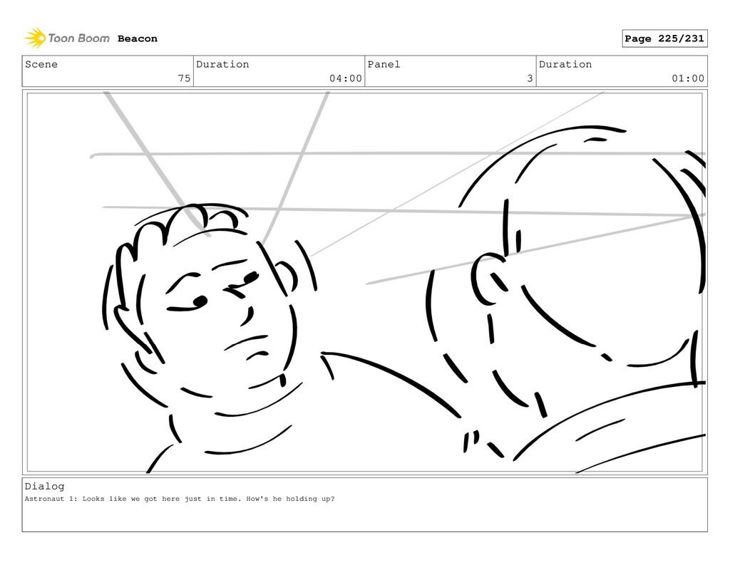 Scene 75 Duration 04:00 Panel 3 Duration 01:00 ...