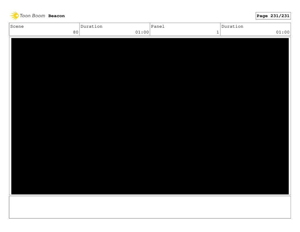 Scene 80 Duration 01:00 Panel 1 Duration 01:00 ...