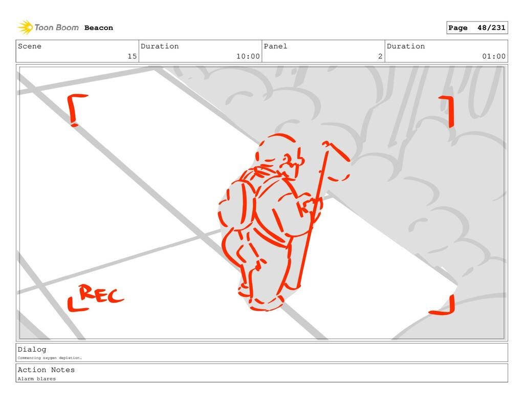 Scene 15 Duration 10:00 Panel 2 Duration 01:00 ...