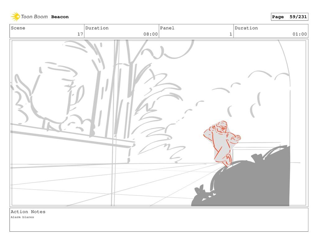 Scene 17 Duration 08:00 Panel 1 Duration 01:00 ...