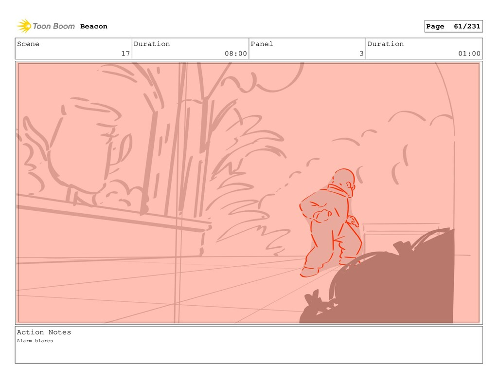Scene 17 Duration 08:00 Panel 3 Duration 01:00 ...
