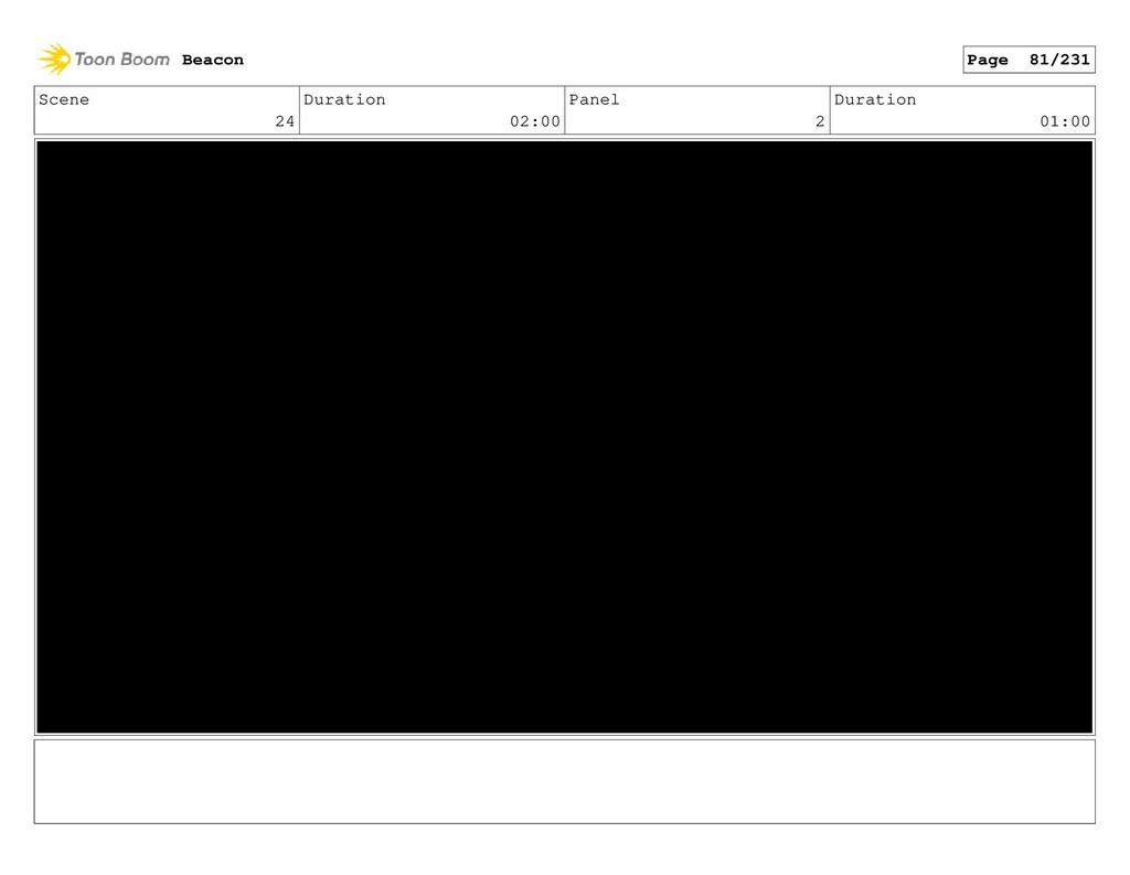 Scene 24 Duration 02:00 Panel 2 Duration 01:00 ...