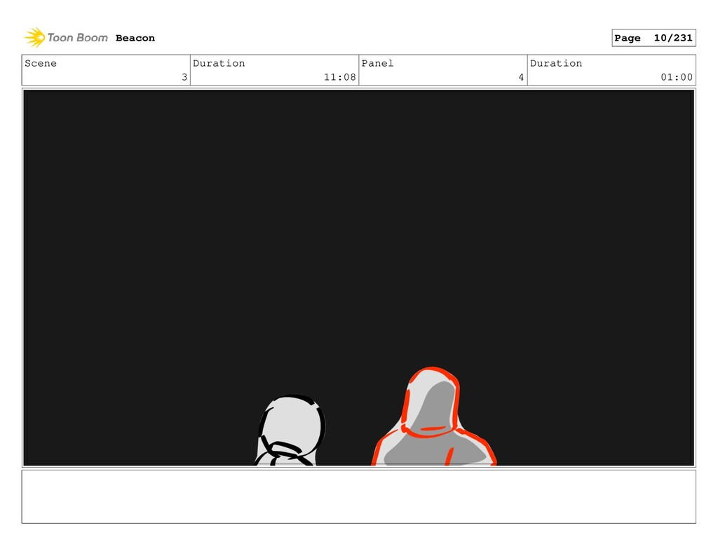 Scene 3 Duration 11:08 Panel 4 Duration 01:00 B...