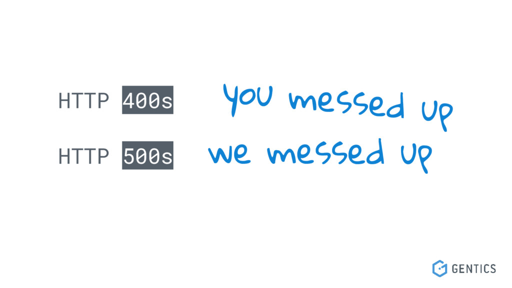 HTTP 400s HTTP 500s you messed up we messed up