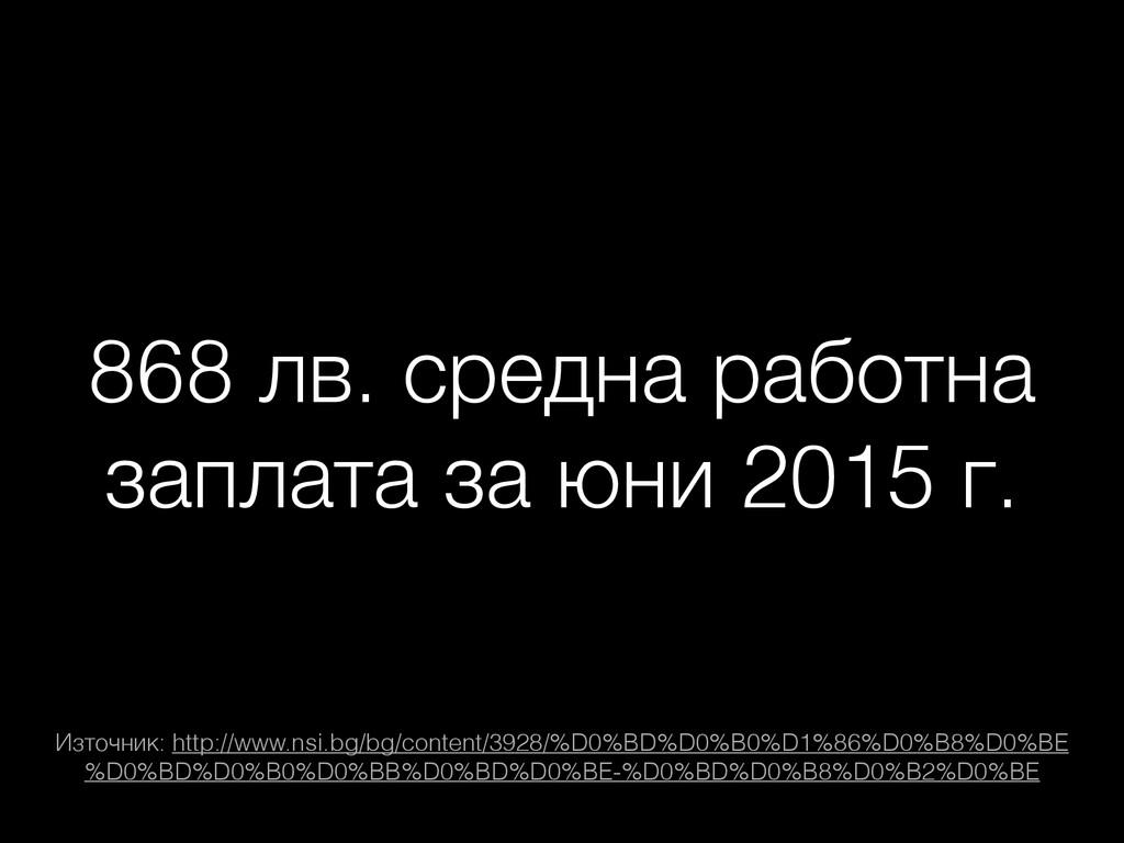 868 лв. средна работна заплата за юни 2015 г. И...