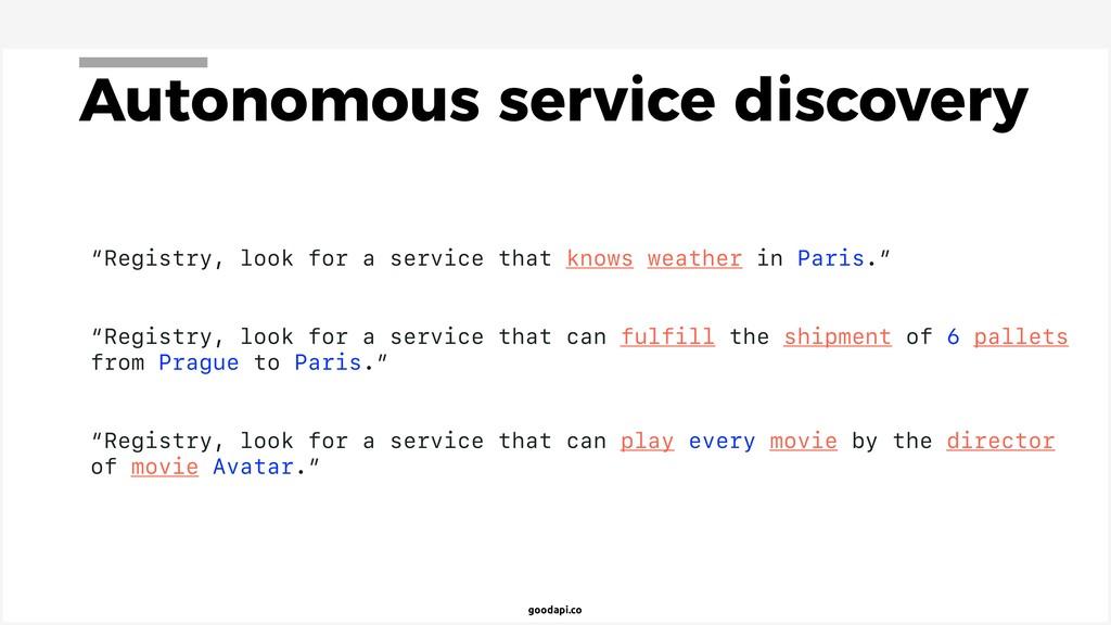 """goodapi.co Autonomous service discovery """"Regist..."""