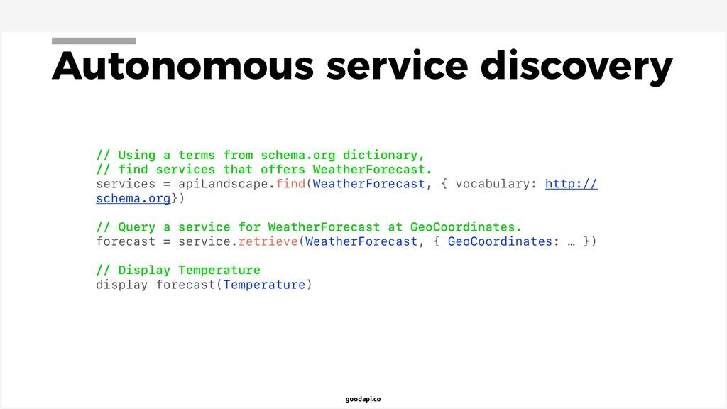 goodapi.co Autonomous service discovery // Usin...