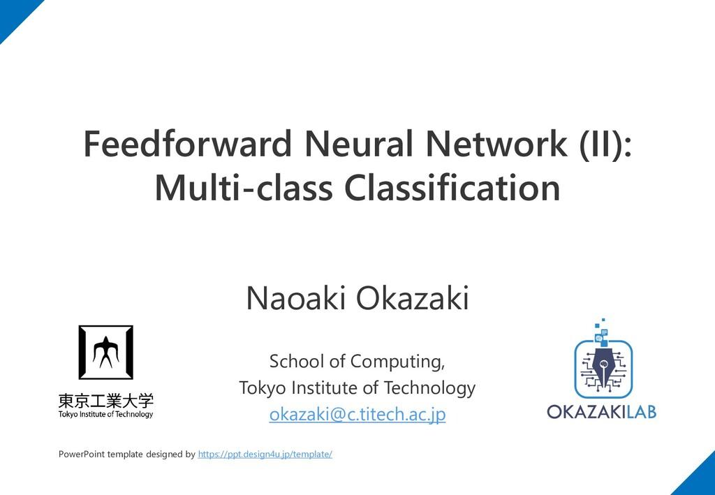 Feedforward Neural Network (II): Multi-class Cl...