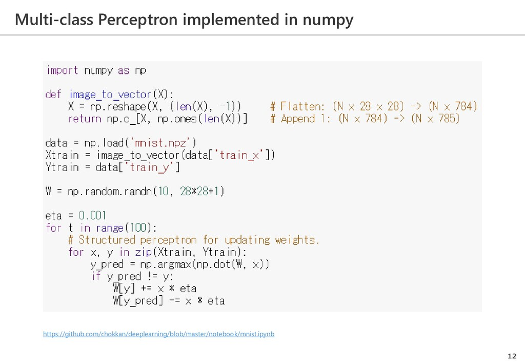 Multi-class Perceptron implemented in numpy 12 ...