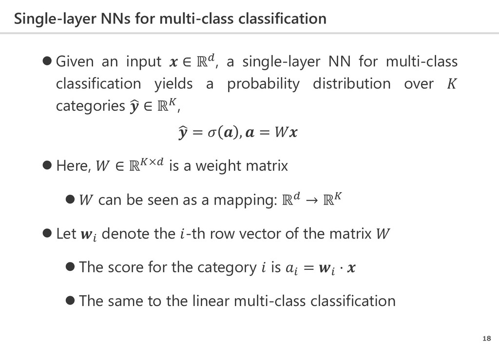 Single-layer NNs for multi-class classification...
