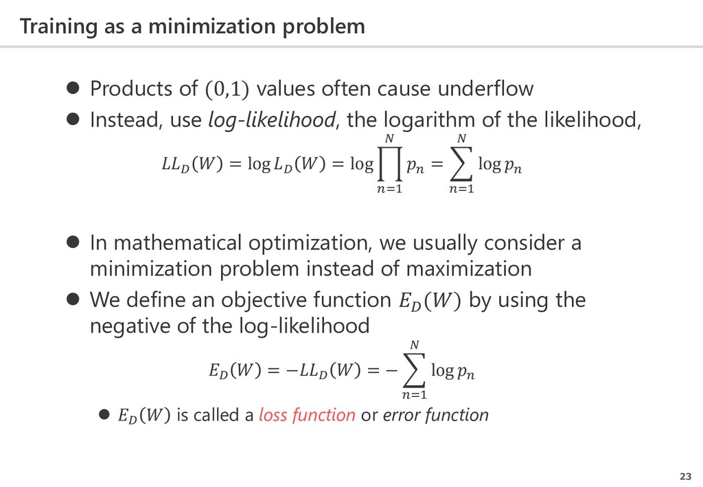 Training as a minimization problem 23  Product...