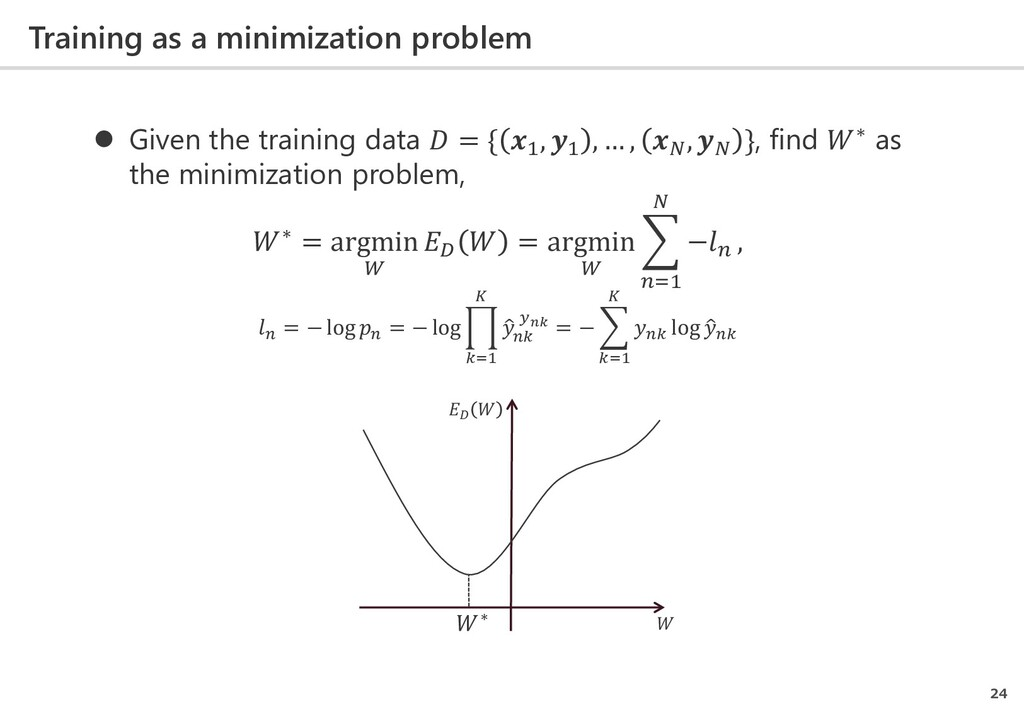 Training as a minimization problem 24  Given t...