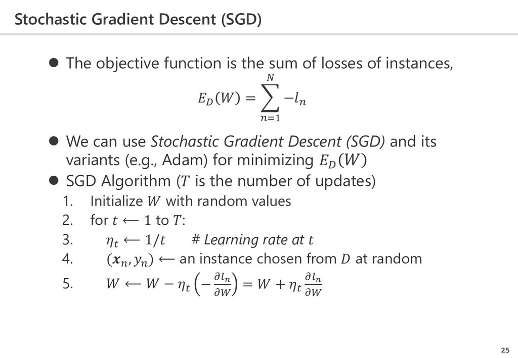 Stochastic Gradient Descent (SGD) 25  The obje...