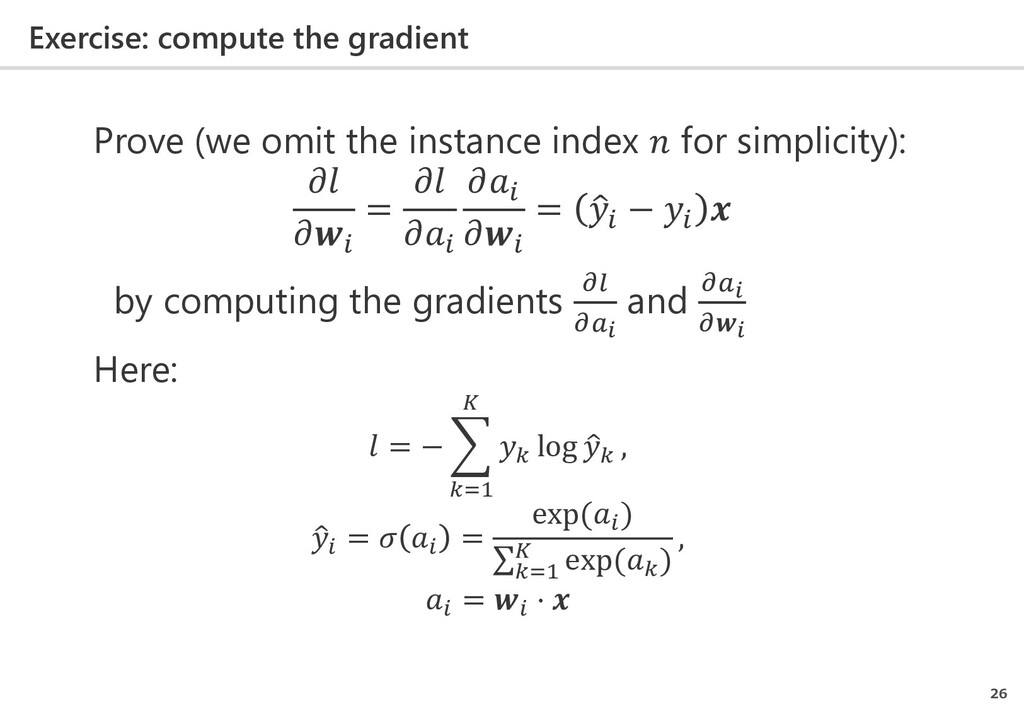 Exercise: compute the gradient 26 Prove (we omi...
