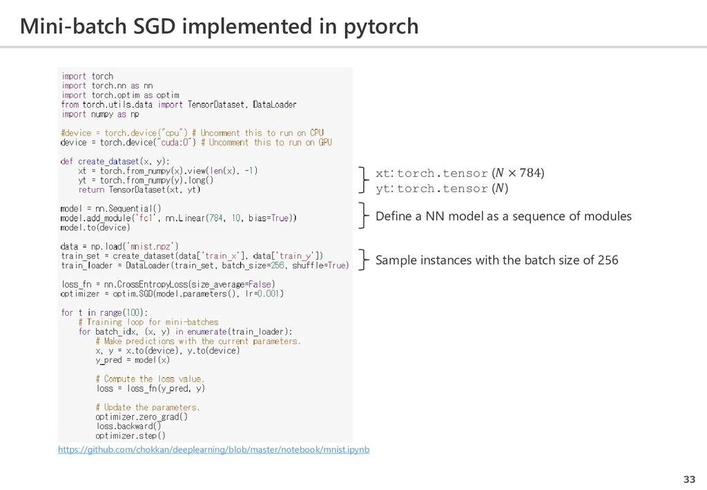 Mini-batch SGD implemented in pytorch 33 xt: to...