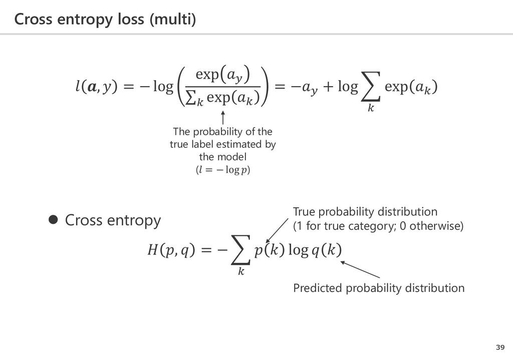 Cross entropy loss (multi) 39  ,  = − log exp  ...