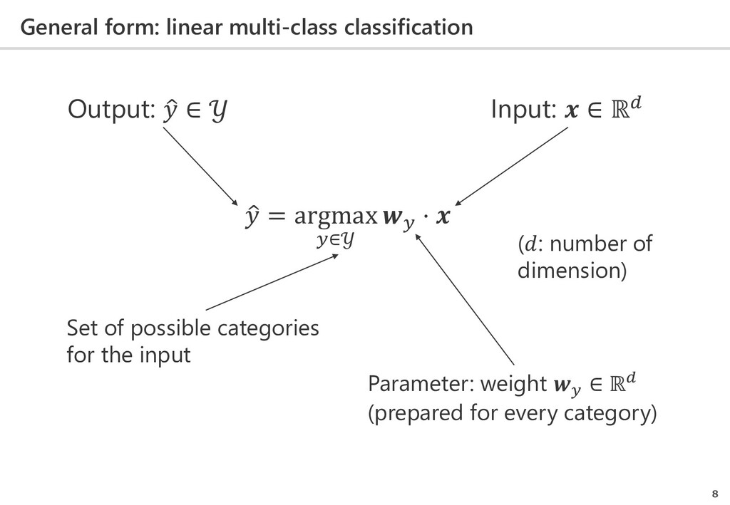 General form: linear multi-class classification...