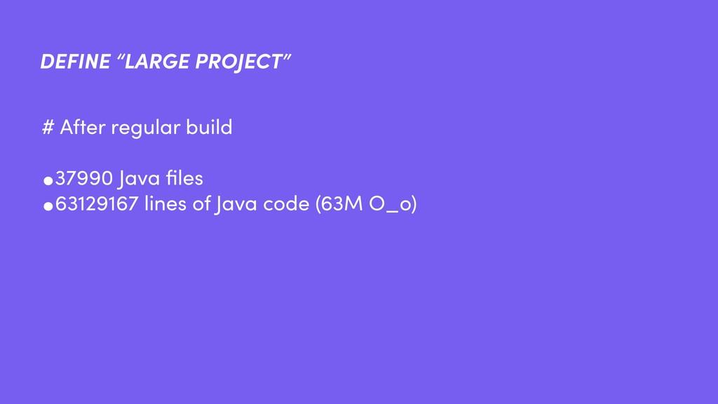 "DEFINE ""LARGE PROJECT"" •37990 Java files •631291..."
