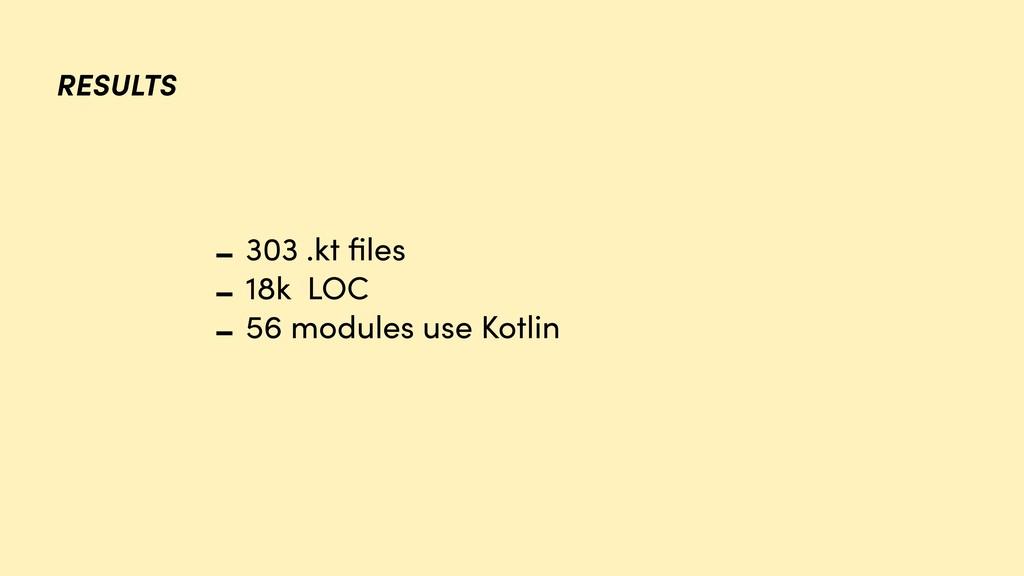 RESULTS - 303 .kt files - 18k LOC - 56 modules u...