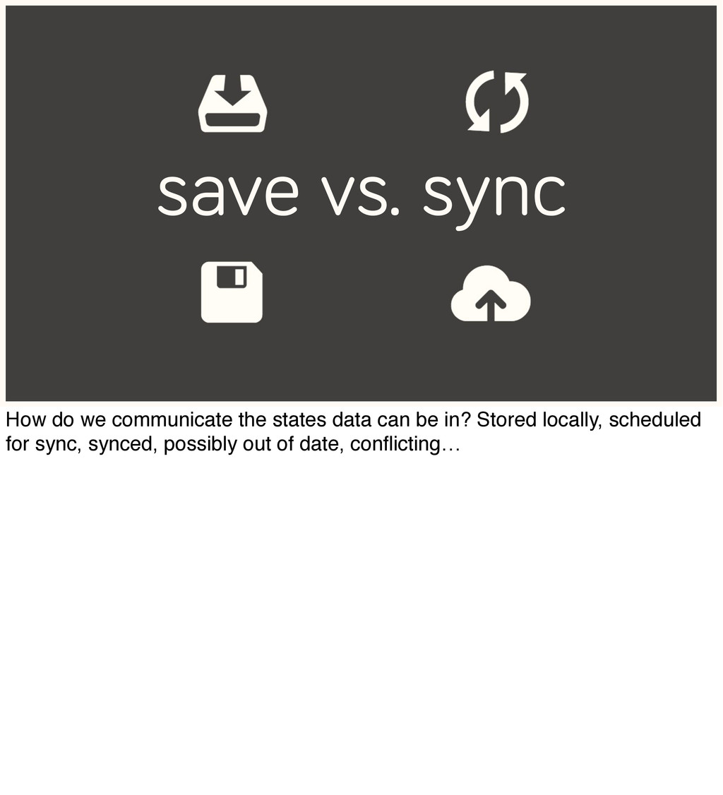 save vs. sync How do we communicate the states ...