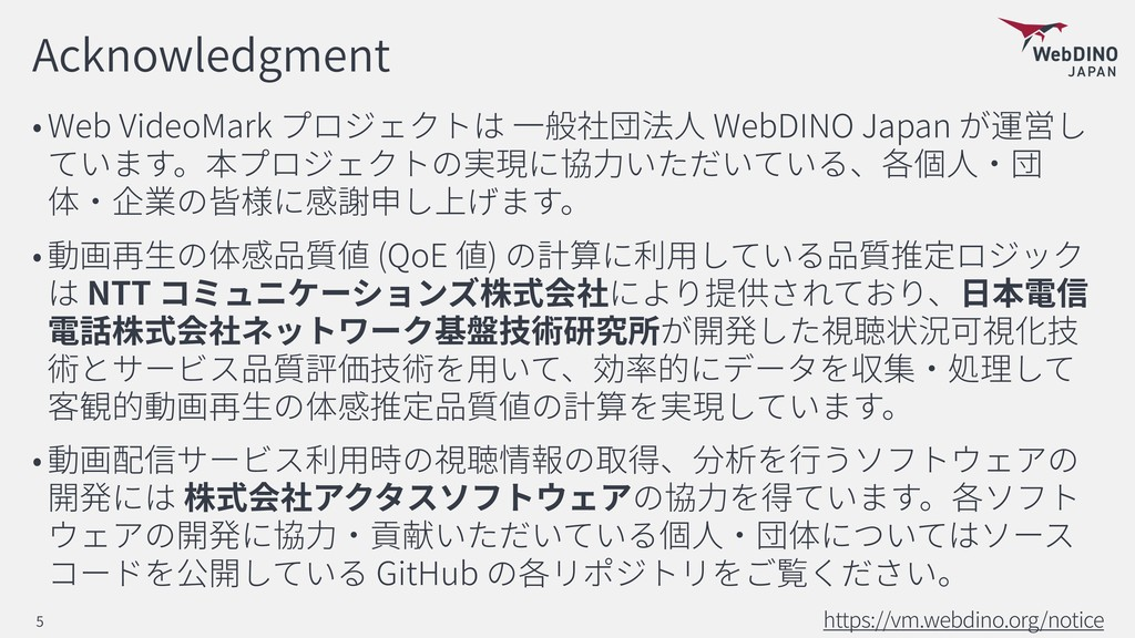 Acknowledgment Web VideoMark WebDINO Japan 貢 (Q...