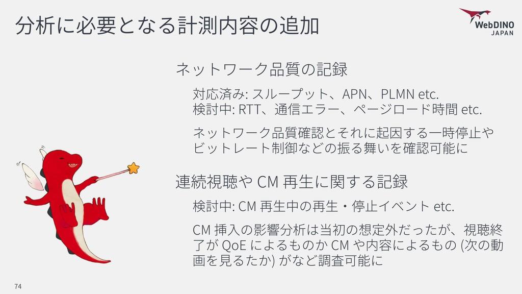 : APN PLMN etc. : RTT etc. CM : CM etc. CM QoE...