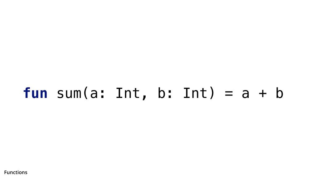 fun sum(a: Int, b: Int) = a + b Functions