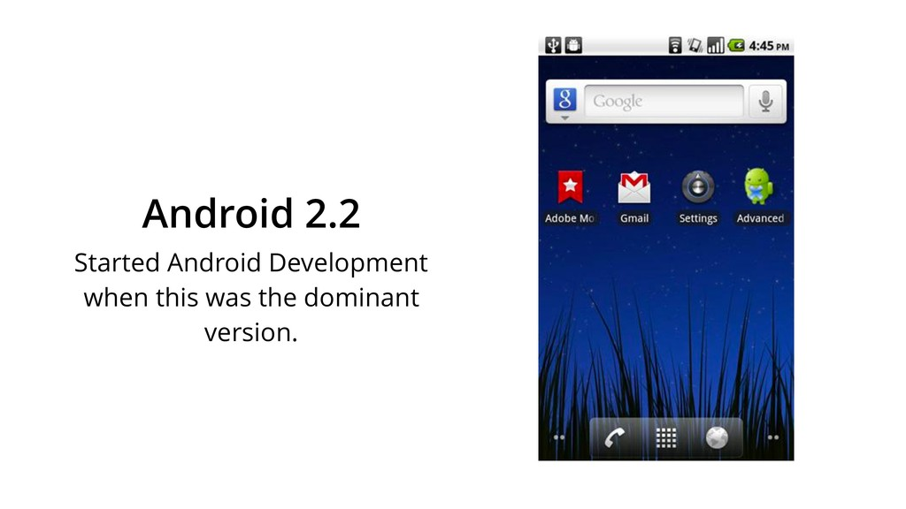 Android 2.2 Started Android Development when th...