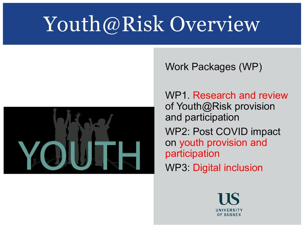 Youth@Risk Overview Work Packages (WP) WP1. Res...