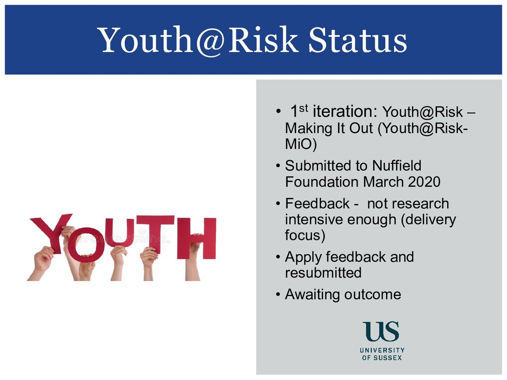Youth@Risk Status • 1st iteration: Youth@Risk –...