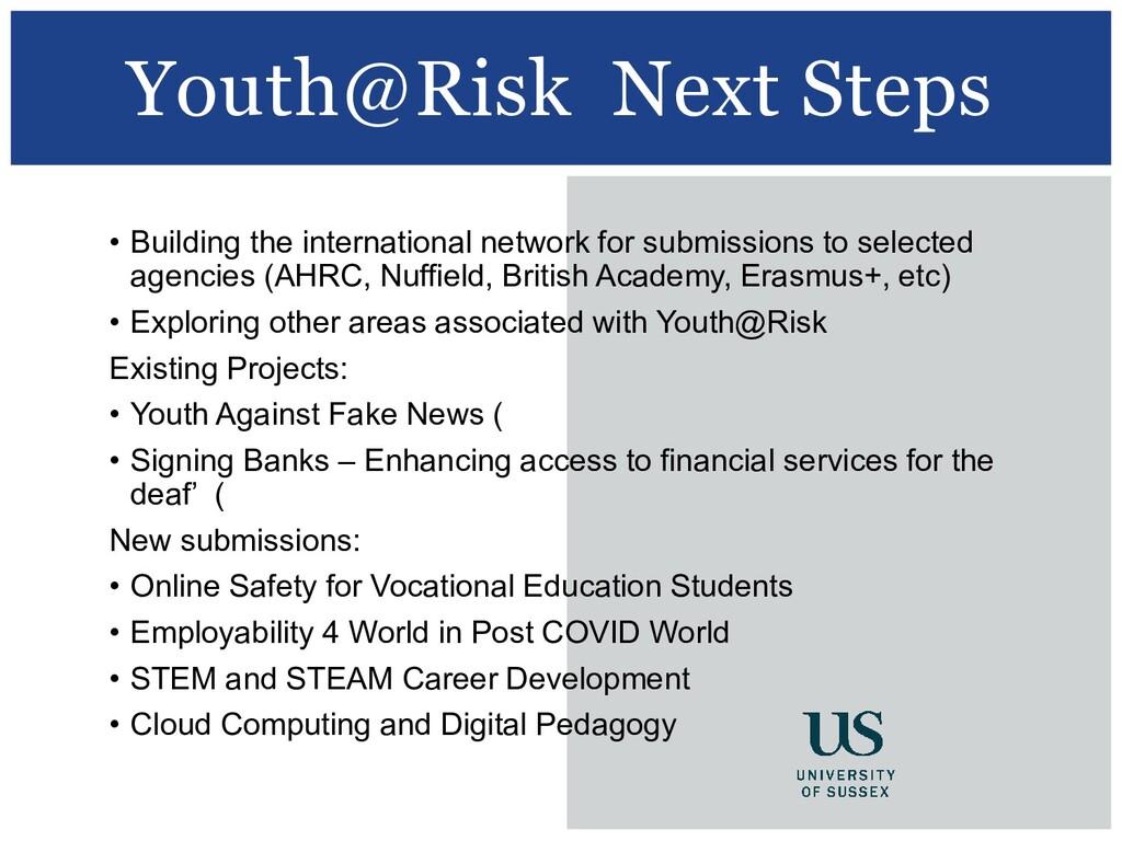 Youth@Risk Next Steps • Building the internatio...