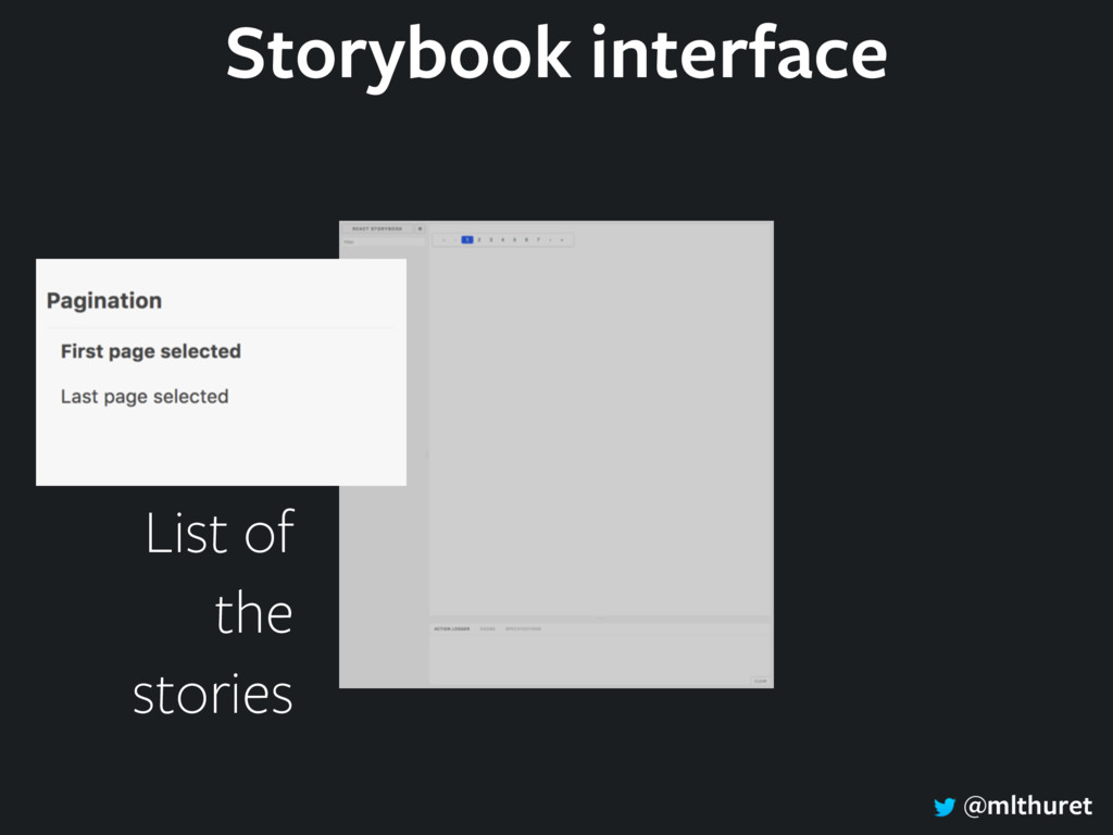 @mlthuret List of the stories Storybook interfa...