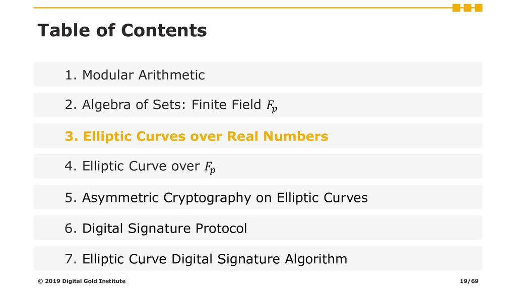 Table of Contents 1. Modular Arithmetic 2. Alge...