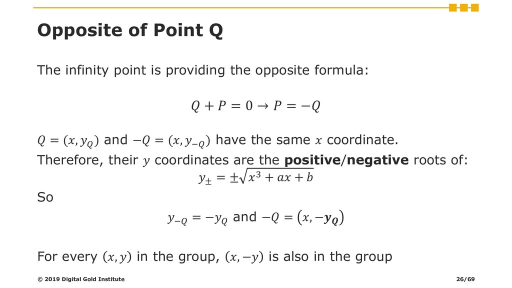 Opposite of Point Q The infinity point is provi...