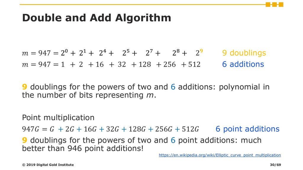 Double and Add Algorithm  = 947 = 20 + 21 + 24 ...